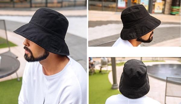 【男人幫】X2001*素面漁夫帽 遮陽帽 防曬帽 黑色漁夫帽
