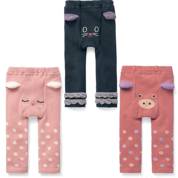 Japan Imports Belle Maison 彈性內搭褲襪 粉點小兔 / 橘紅彩點小豬 / 黑色小貓 3款