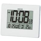 【台南 時代鐘錶 SEIKO】精工 液晶數位式電子鐘 QHL057W 白 鬧鐘/日曆/溫度顯示