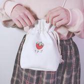 簡約草莓印花帆布側背手機包包女斜背包學生可愛小清新抽繩束口袋  貝芙莉