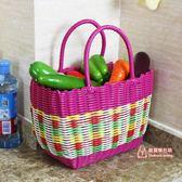 野餐籃 塑料編織購物籃買菜籃子手提籃野餐籃子寵物籃洗浴筐洗澡籃收納筐T 6色