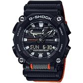 CASIO 卡西歐 G-SHOCK 潮流工業風雙顯計時手錶-黑/橘 GA-900C-1A4