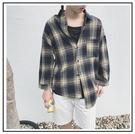 找到自己 MD 時尚 男 韓國 休閒 寬鬆 五分袖 格紋襯衣外套 格子襯衫 短袖襯衫