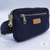 【Misstery贈吊飾】腰包圓點圖案拉鏈腰包-藍(防潑水面料搭配頂級植鞣革)A88-116PBU