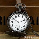 情侶懷錶復古翻蓋鏤空男女士錶中學生石英錶電子項鍊大小號掛手錶『夏茉生活』