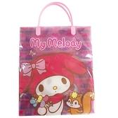 小禮堂 美樂蒂 直式方形透明手提袋 禮物提袋 包裝提袋 禮品袋 (粉 花朵) 4713791-84446