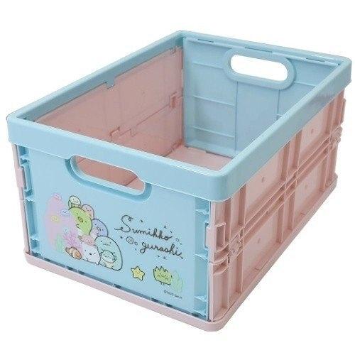 小禮堂 角落生物 塑膠折疊無蓋收納箱 CD收納盒 折疊收納盒 (M 粉綠 海底) 4930972-50253