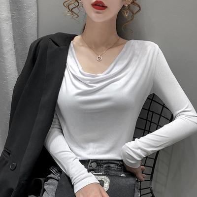 長袖t恤女堆堆領打底衫 修身上衣初秋女裝洋氣內搭薄款打底衫N130依佳衣