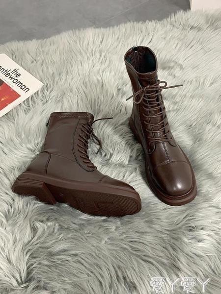 馬丁靴 方頭瘦瘦靴炸街單靴2020年春秋冬新款馬丁靴女英倫風短靴騎士靴子 愛丫愛丫