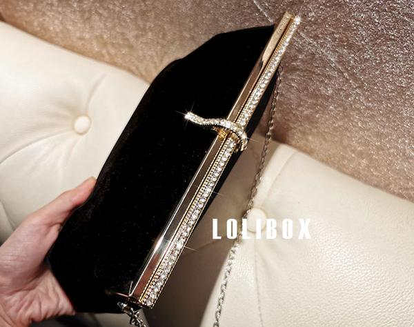 宴會包LOLIBOX定制進口絲絨高級鑲鑽五金女手提包斜背小包晚宴會手拿包 衣間迷你屋 交換禮物