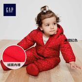 Gap女嬰兒 柔軟舒適一件式連身白鴨絨羽絨服 348788-摩登紅色