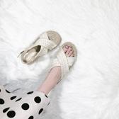 草編鞋 松糕厚底民族仙女風波西米亞草編ins學生涼鞋女潮-Ballet朵朵