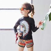 #兒童泳裝#圖騰#印花 甜美 長褲 三件套 長袖 兒童泳裝【TF17112】 icoca  08/31