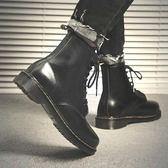 靴子 冬季馬丁靴男雪地靴高幫短靴子軍靴沙漠英倫真皮黑色潮工裝棉鞋秋