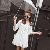 夏裝女新款韓版鏤空荷葉邊高腰娃娃衫寬鬆喇叭袖棉麻上衣女