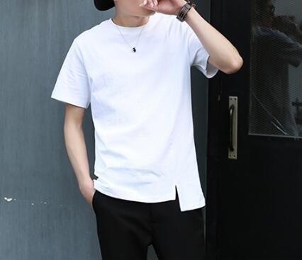 FINDSENSE MD 韓國 潮 男 時尚 純棉 純色素面 簡約 開叉不規則