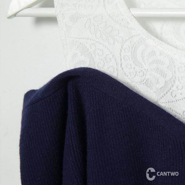 CANTWO假兩件蕾絲拼接針織上衣-共三色