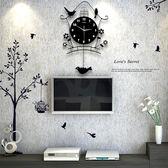 【免運】掛鐘北歐夜光鐘表掛鐘客廳創意小鳥個性現代裝飾掛表藝術搖擺石英時鐘