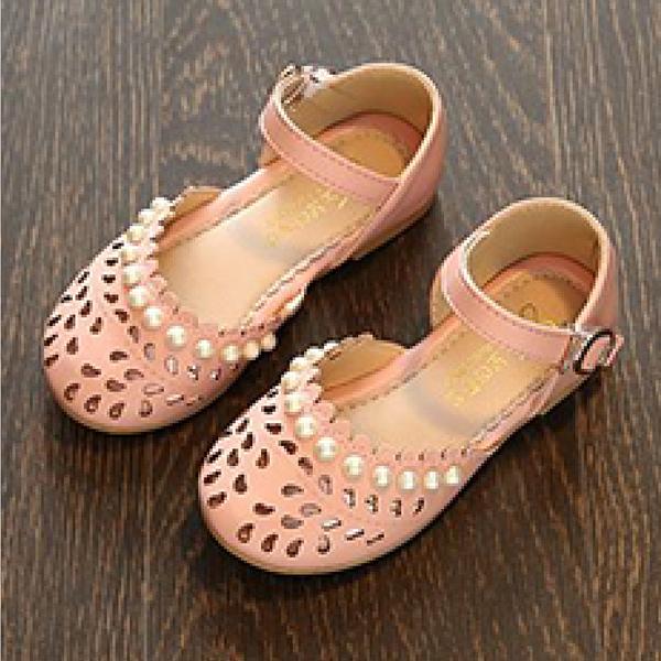 【Jingle】法國氣質公主簍空包頭鞋(柔美粉兒童款)