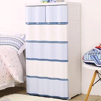 【+O 家窩】晨光波紋五層抽屜收納櫃-晴天藍-DIY (置物櫃 抽屜櫃 衣櫃 塑膠 整理箱)