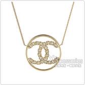 CHANEL 雙C LOGO圓環設計水鑽鑲飾項鍊(金)