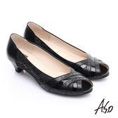 A.S.O 優雅時尚 全真皮金箔側邊蕾絲中跟魚口鞋 黑