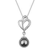 珍珠項鍊+925純銀吊墜-大方鑲鑽生日情人節禮物女飾品5色73bb11【時尚巴黎】