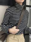 高領條紋t恤女長袖寬鬆秋冬季韓版上衣純棉百搭修身加絨打底衫女