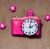 可愛相機玫紅掛錶 靜音兒童房幼兒園裝飾鐘錶