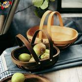 野餐籃 郊游小籃子復古藤編水果籃手提雞蛋籃子美食拍攝道具MJ