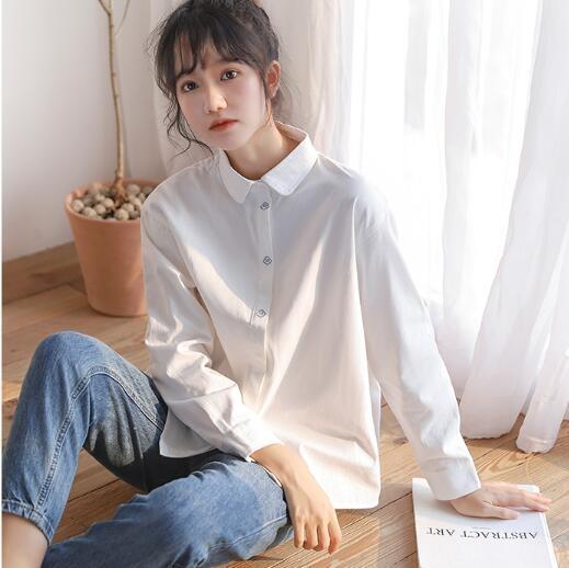 长袖上衣女春秋时尚设计感小众刺绣白色衬衫百搭宽松韩版外穿衬衣