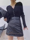 依Baby 短裙 秋冬新款韓版菱形格百搭款高腰顯瘦皮裙短裙A字裙