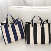 韓版新款帆布包女包購物袋條紋防水大包簡約休閒單肩包手提包 優帛良衣