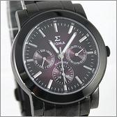【萬年鐘錶】SIGMA 全黑漸層紫三眼時尚腕錶 8807M-B15