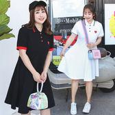 ★韓美姬★中大尺碼~學院風領口繫釦短袖洋裝(XL~4XL)