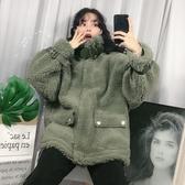羊羔毛外套女冬季新款韓版時尚寬鬆百搭學生中長款毛絨機車服 雅楓居