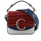 【CHLOE】Mini C Bag拼色牛皮壓鱷魚手提/斜背兩用包(淺藍/深藍/棕色) CHC19WS193C0199L