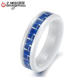 [Z-MO鈦鋼屋]男生陶瓷戒指/藍色格紋設計/精緻戒指/戀人禮物推薦 單只價【BKC192】