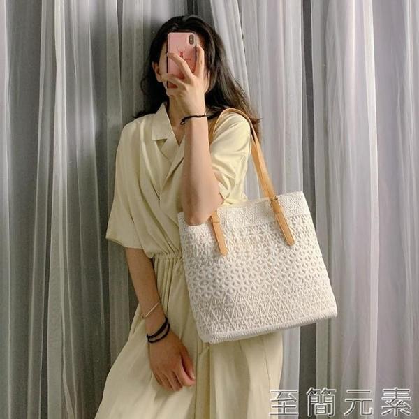 單肩包包女夏季新款韓版托特女包大容量手提包百搭蕾絲帆布包 雙十二全館免運