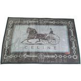 CELINE經典馬車鎖鏈LOGO保暖絨毛大蓋毯(黑灰色)084101-1