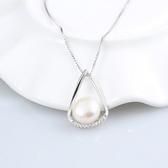 925純銀項鍊 珍珠-精美鑲鑽時尚生日情人節禮物女吊墜73w6【巴黎精品】