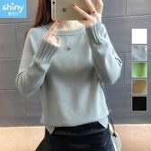 【V2622】shiny藍格子-純淨輕旋‧前短後長圓領長袖針織上衣