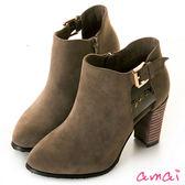 amai小性感鏤空絨布高跟踝靴 灰