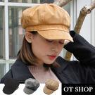 OT SHOP帽子‧素面燈芯絨‧八角帽畫家帽毛呢帽‧歐美韓星文青時尚街頭穿搭配件‧現貨2色‧C1866