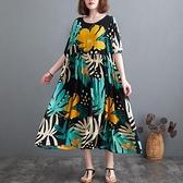 洋裝 中大尺碼女裝 胖妹妹文藝復古大碼2021夏裝中長款寬鬆遮肚子顯瘦印花連身裙