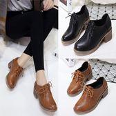 皮鞋 春秋季單鞋女粗跟短靴女士休閒小正韓百搭工作鞋-新主流