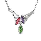 925純銀項鍊 水晶墜飾-鑲鑽號角生日情人節禮物女飾品4色73aj22【巴黎精品】