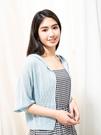 單一優惠價[H2O]六分泡泡袖開襟連帽針織外套 - 白/淺藍/淺紫色 #0690002