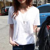 白色短袖t恤女竹節棉麻