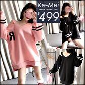 克妹Ke-Mei【ZT49628】歐美妞最愛雙槓袖字母深V刷毛T恤洋裝